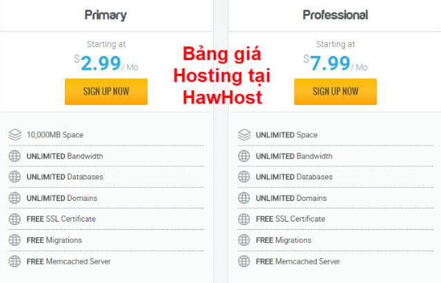 Bảng giá HawkHost