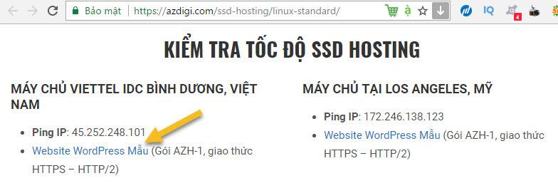 Kiểm tra tốc độ hosting tại azdigi