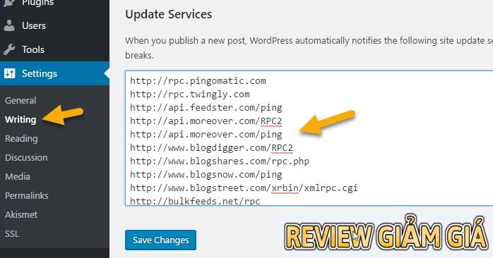ping service cho wordpress tăng tốc độ index bài viết