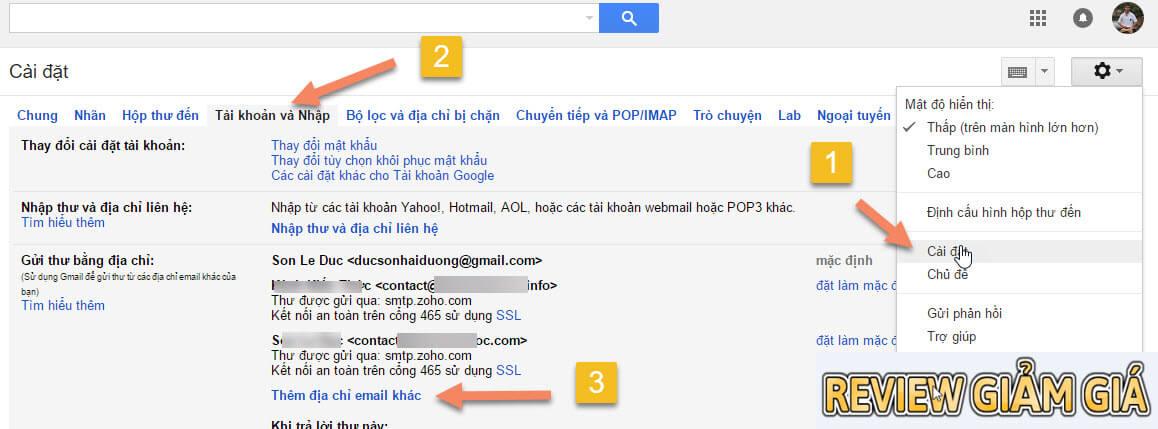 Gửi mail tên miền riêng với gmail
