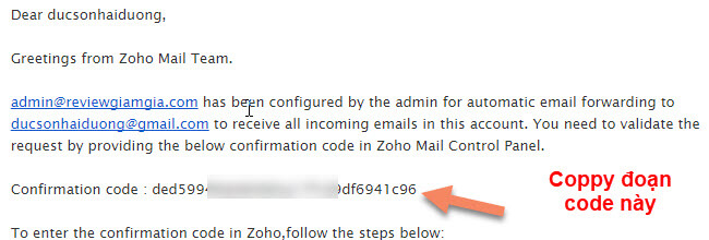 Cấu hình nhận mail cho zoho