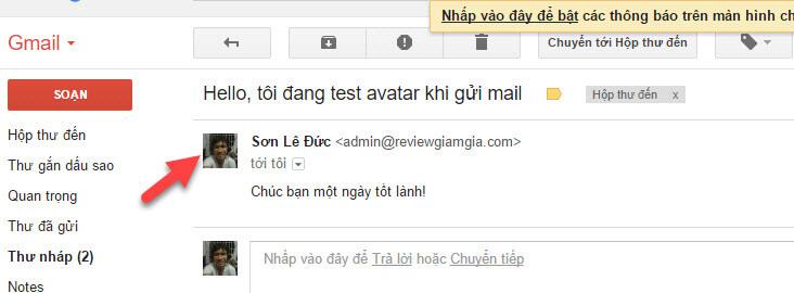 Hiển thị Avatar khi gửi mail