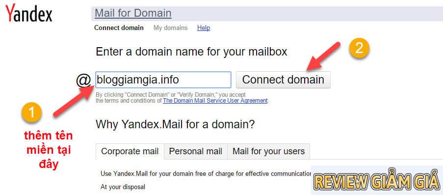 tao email ten mien rieng yandex 2