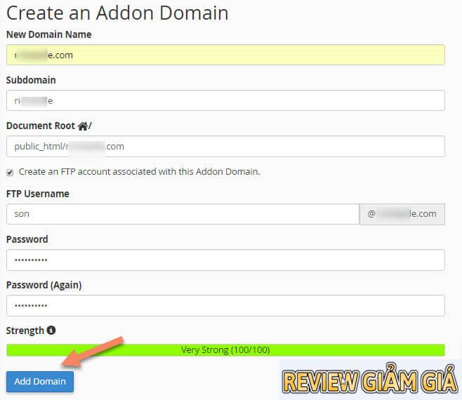 Hướng dẫn thêm Addon domain vào host