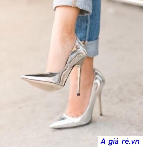 giày cao gót nữ màu metallic