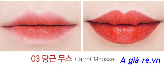 Son tint hiìh kẹo hồng The Saem Mousse Candy Tint màu Carrot