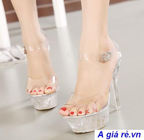 giày nữ cao gót xuyên thấu