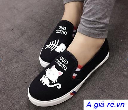 Giày lười nữ hình mèo cá