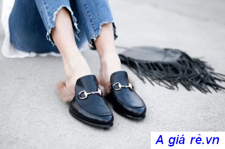 Giày lười nữ hở gót đính lông