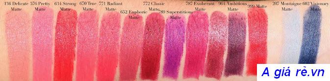 Bảng màu son Dior Rouge
