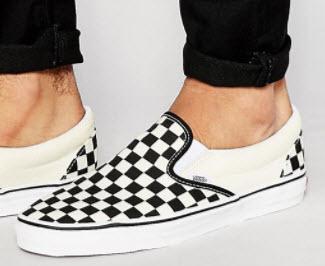 Giày Vans trắng caro đen