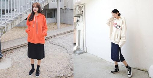 áo hoodie nữ dáng dài