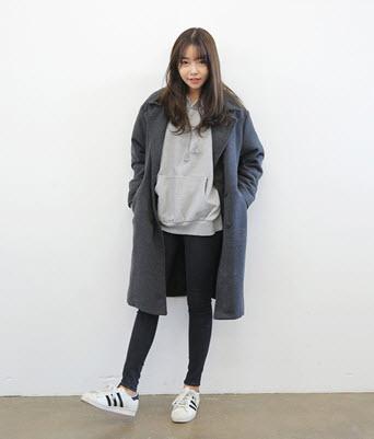 Áo khoác hoodie không mũ dễ thương