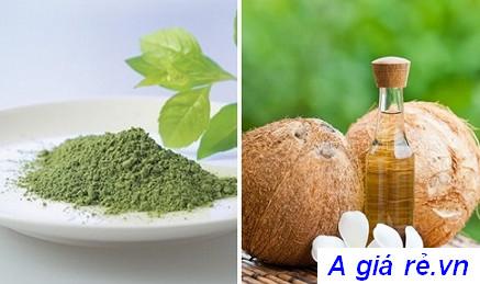 Mặt nạ bột trà xanh và dầu dừa