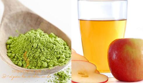 Mặt nạ bột trà xanh và giấm táo