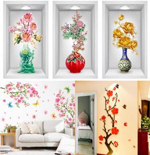 tranh dán tường hoa xuân