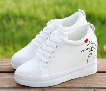 Giày Sneaker nữ đế cao màu trắng đẹp