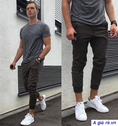 phối quần jogger với áo thun nam