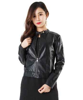 Áo khoác da màu đen cho nữ