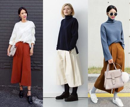 quần culottes áo len