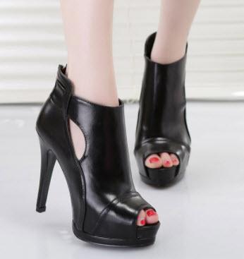 Giày boot nữ hở mũi