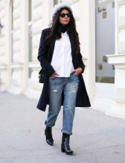 Phối giày boot với quần jeans