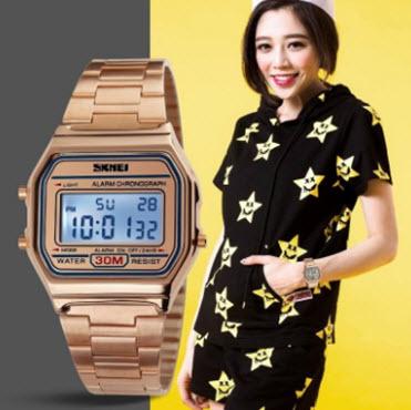 Đồng hồ điện tử dây kim loại Skmei DG1123D