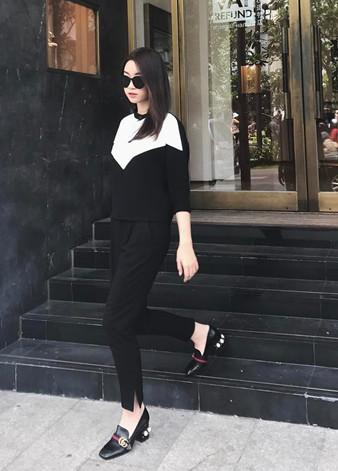 Đỗ Mỹ Linh cùng giày Gucci nữ Mid-heel Loafer