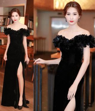 Đầm dạ hội trễ vai2