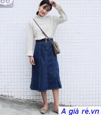 Chân váy jean dài cực xinh