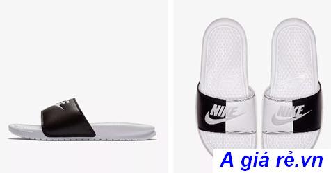 Dép Nike quai ngang Benassi Simple black and white