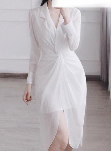 Đầm sơ mi voan lụa trắng