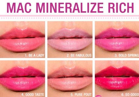 Bảng màu Mac Mineralize Rich Lipstick
