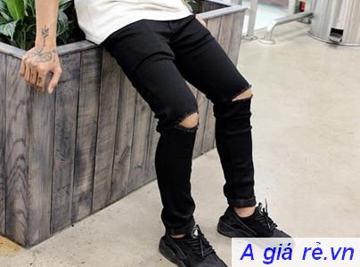 Quần Jeans nam rách gối màu đen