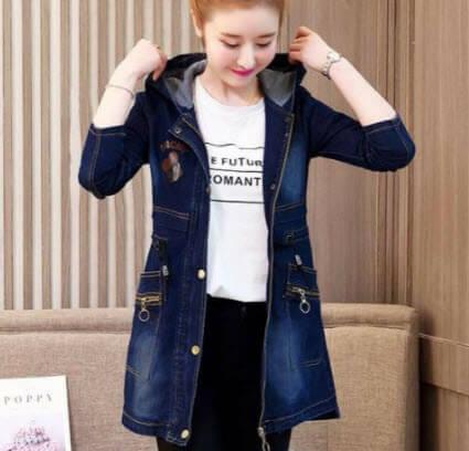 Áo khoác Jean nữ Form dài