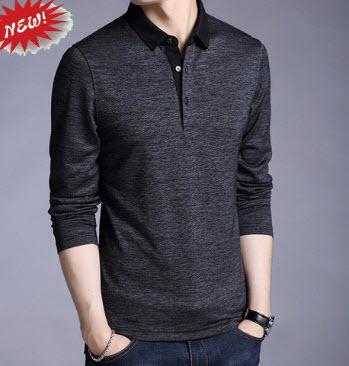 Áo thun nam dài tay màu đen xám