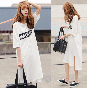 Đầm suông thun màu trắng