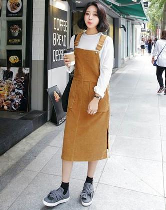 Váy yếm len dáng dài đẹp