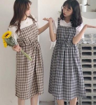 Váy yếm Caro Hàn Quốc