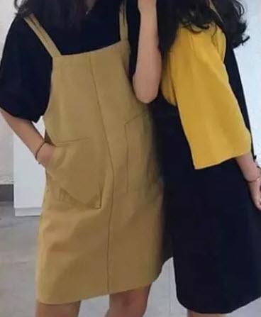 Váy yếm Kaki suông