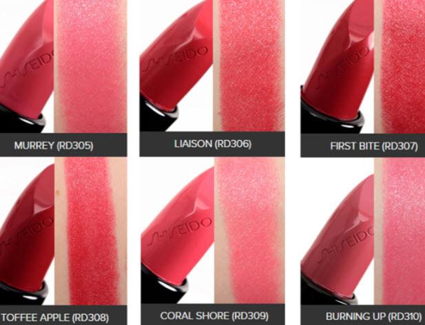 Bảng màu son Shiseido Rouge Rouge