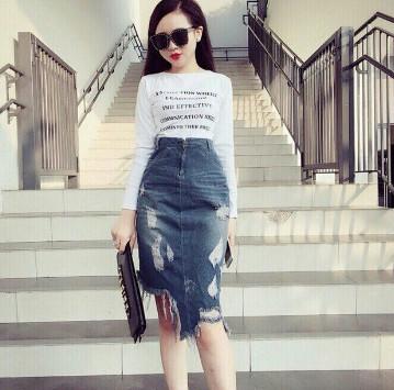 Chân váy Jeans dáng dài
