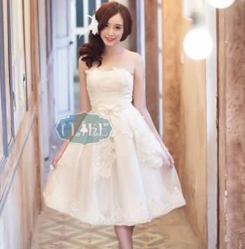 Đầm trắng công chúa cúp ngực
