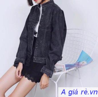 Áo khoác Jean nữ màu đen
