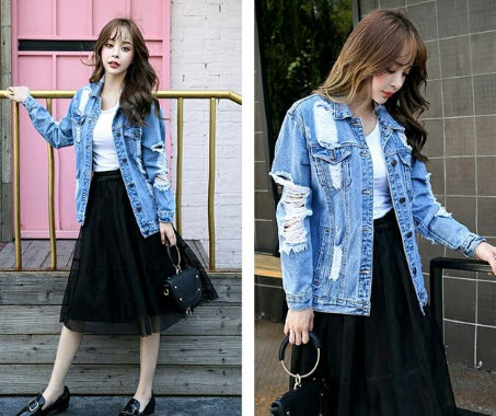 Áo khoác Jean rách nữ