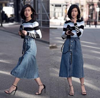 Chân váy Jean dài xòe đẹp