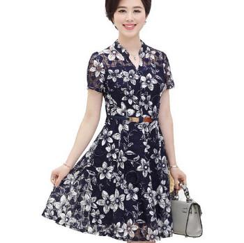 Đầm xòe hoa tuổi trung niên