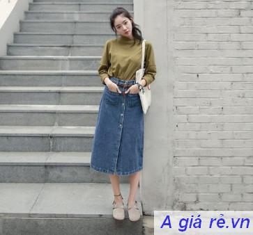 Chân váy Jean dài mặc với gì