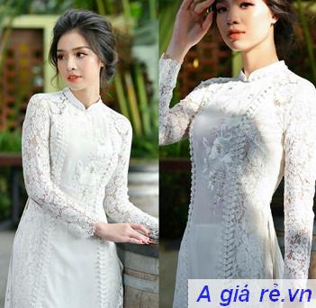 Áo dài cưới cách tân màu trắng
