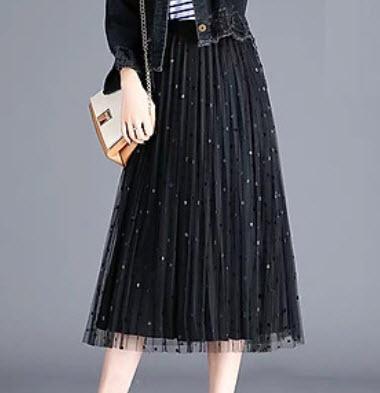 Chân váy dài xếp ly 2 lớp